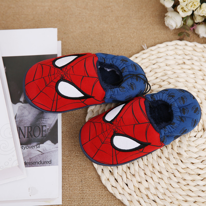 Disney slippers winter todder spiderman home slippers baby boy warm plush shoes cartoon animation floor pantuflas terlik (17)