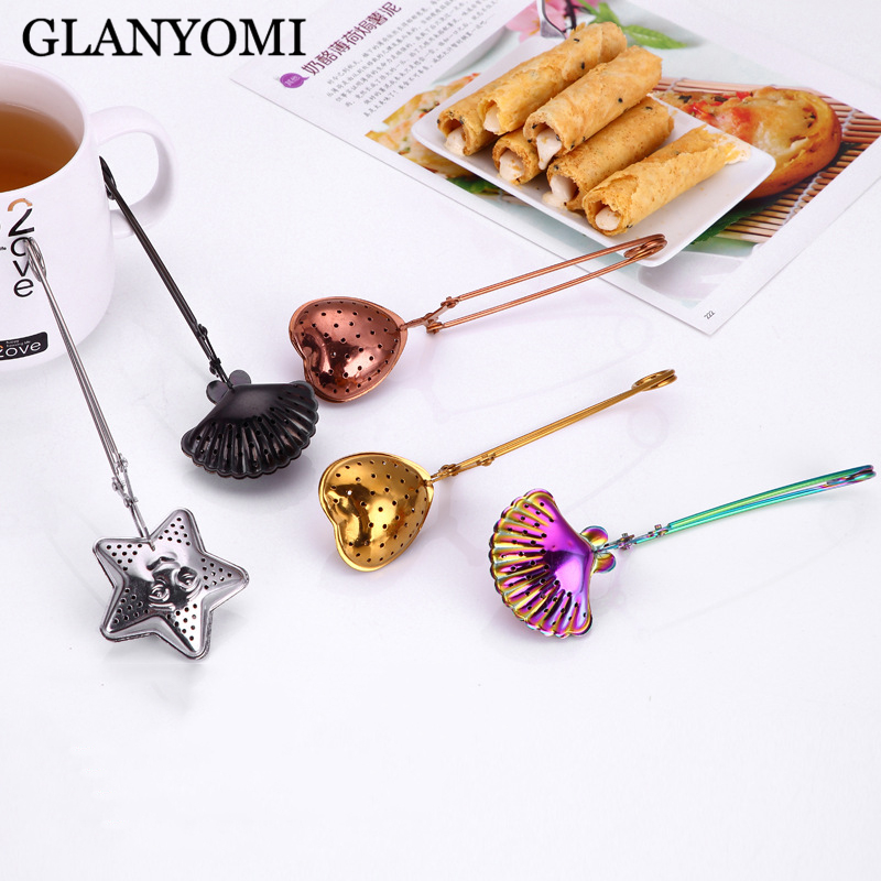 3Pcs/Lot Colorful Tea Infuser In Mesh Tea Ball Infuser Tea Strainer Filter With Handle Stainless Steel Tea Mesh Ball Filter Gold
