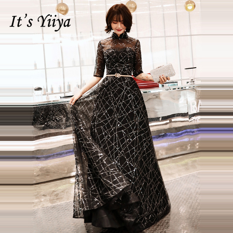 It's YiiYa Evening Dress Half Sleeve Shining Black Fashion Formal Dresses Elegant Illusion Zipper Party Gown For Women E066