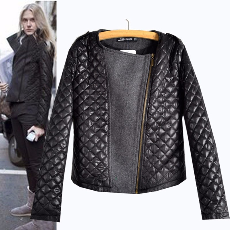 ФОТО Autumn and winter European style Motorcycle leather jacket fashion women's wool coat Long Sleeve zip stitching patchwork coat
