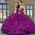 Venda quente vestido de Baile Querida Vestidos Quinceanera Com Beading Cristal Ruffles Lace-Up Voltar Organza Vestidos de noiva Com Jaqueta