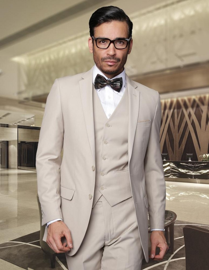 Khaki Two Buttons Mens Suits 3 Pieces Wedding Suits for Men Groom Tuxedos Business Formal Suit (Jacket+Pants+vest+tie)