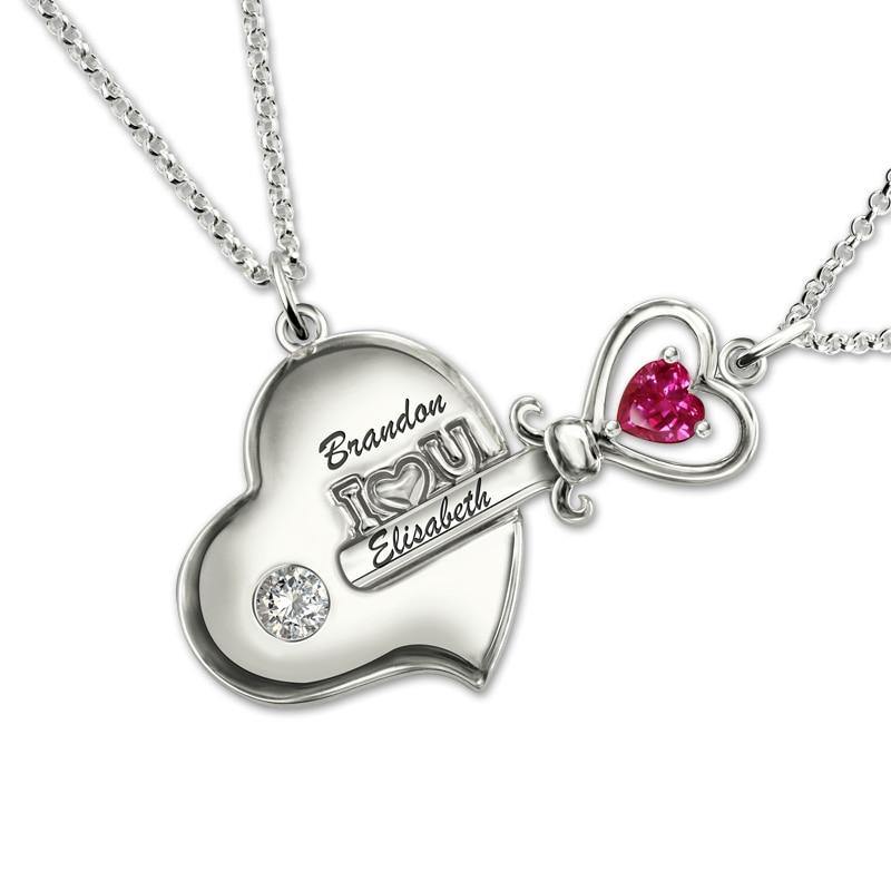 Collier AILIN Couple clé de mon coeur pierre de naissance couleur or blanc collier personnalisé pour amoureux