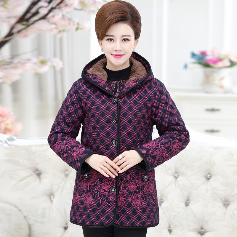 Middle-aged Women Mothers Clothing Thick Velvet Warm Dot Hooded Cotton Padded Large Size Winter Jacket Women Park Down Coat F814