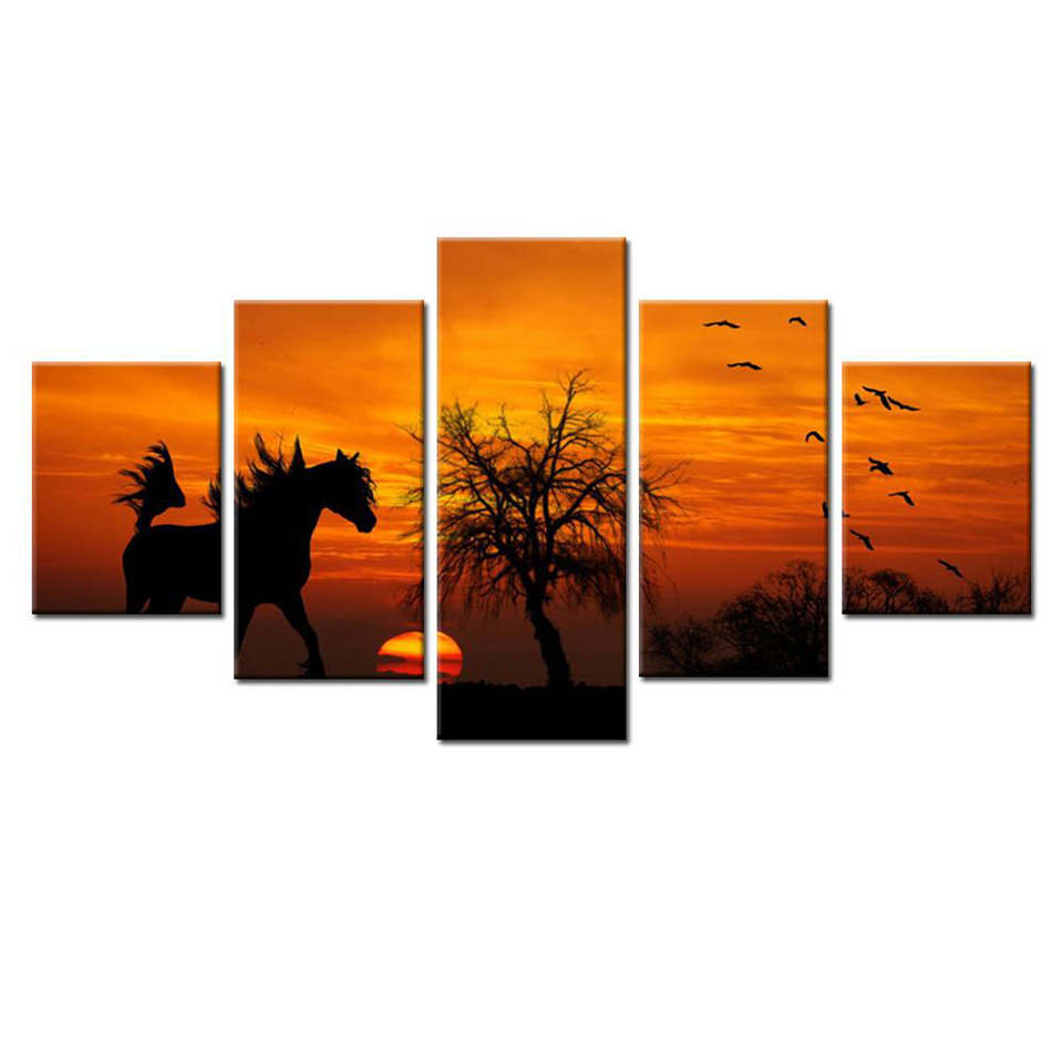 Fashion Canvas Painting Wall Art Prints 5 Panel Horse Home Decoration Modular Pictures For Living Room Sunset Landscape Framed