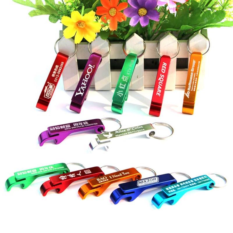 شحن الليزر أنقش المعادن سلسلة مفاتيح فتاحة الزجاجات مخصص شعار فاتحة الزجاجات المصنوعة من الألومنيوم مفتاح علامة مفتاح حلقة زجاجة و فتاحة علب 100 pcs-في فتّاحات من المنزل والحديقة على  مجموعة 1
