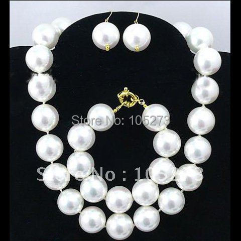 Stunning!Huge Big 16MM White Round South Sea Shell Pearl Necklace Bracelet Earring Jewelry Set Fashion Jewelry New Free ShippingStunning!Huge Big 16MM White Round South Sea Shell Pearl Necklace Bracelet Earring Jewelry Set Fashion Jewelry New Free Shipping