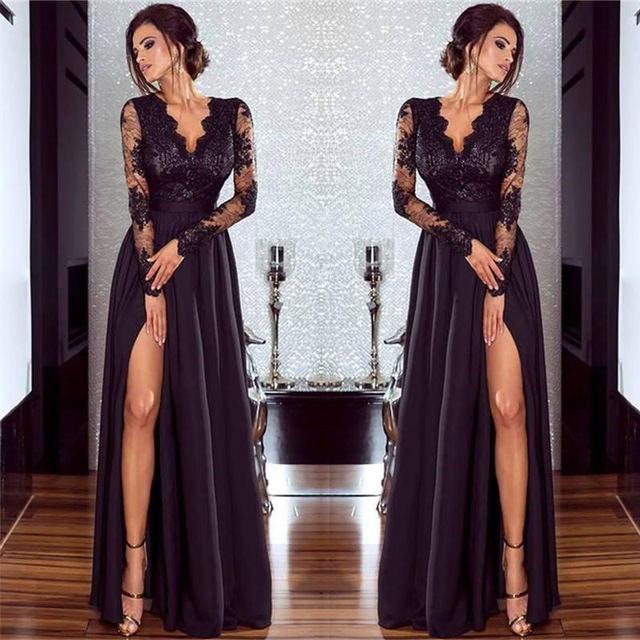 Black Lace Evening Dresses Long Sleeves V-Neck High Split Formal Dress Sexy Illusion Chiffon robe de soiree Ladies Party Gown