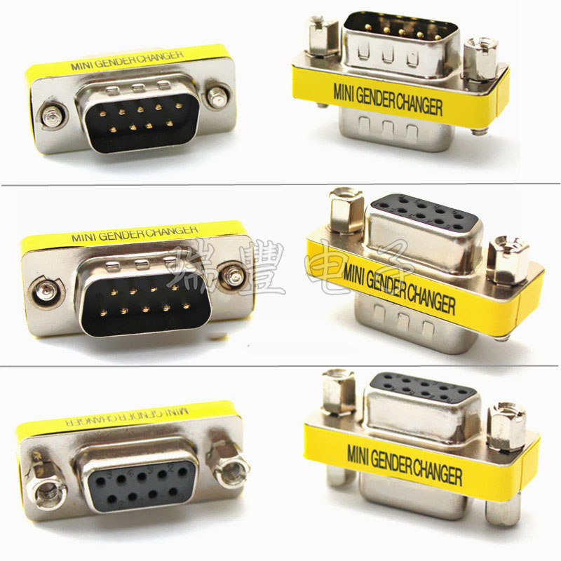DB9 9Pin/ Female To Female/ Female To Male/ Male To Male/ Mini Gender Changer Adapter RS232 Serial Connector