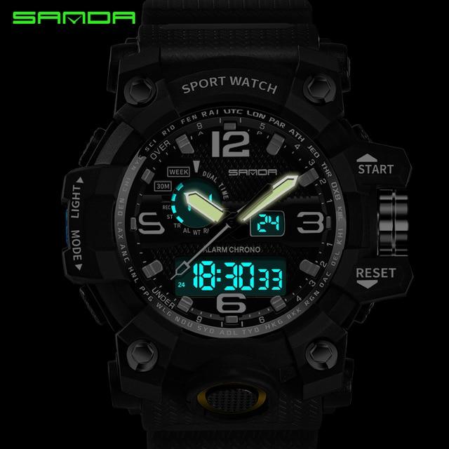 SANDA military watch waterproof sports watches men's LED digital watch top brand luxury clock camping diving relogio masculino 3