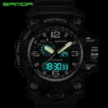 SANDA military watch waterproof sports watches men's LED digital watch top brand luxury clock camping diving relogio masculino