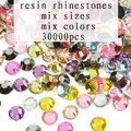 30000 unids Tamaño Mixto 2mm-7mm Colorized Colores Mezclados Rhinestones de la Resina de Flatback del Hotfix no Taladro del Palillo 3D Nail Art DIY Decoración
