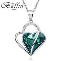بافن صنع مع عناصر سواروفسكي الأخضر كريستال مزدوجة القلب قلادة قلادة 925 فضة مجوهرات أنيقة هدية للمرأة