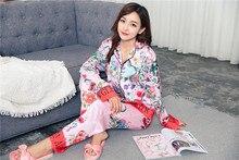 Новое поступление 2017 года tainy подарок Для женщин Цветочный Шелковый Полный отложной воротник осень полной длины рубашка Пижамы для девочек с козырьком # t356