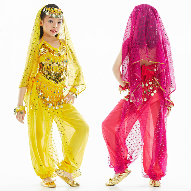 deb614c1577d Bellydance Costume for Girls Kids Belly Dance Top Pants Bollywood ...
