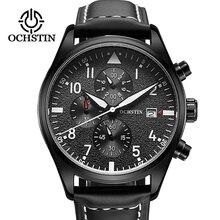 Часы хронограф мужские Кварцевые водонепроницаемые с кожаным ремешком