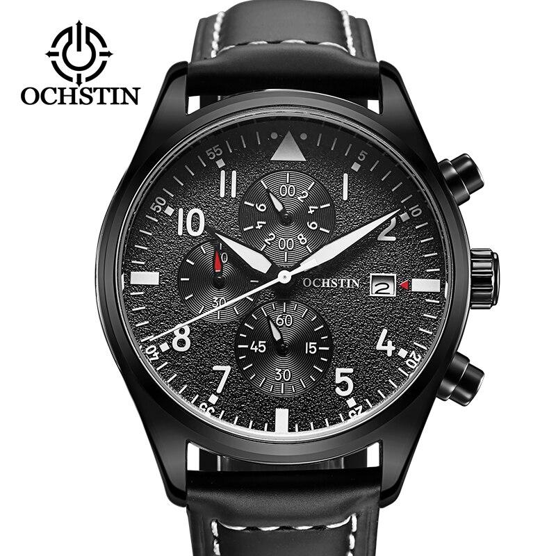 Ochstin novo esporte relógios homem moda casual marca cronógrafo luxo à prova dwaterproof água luminosa pulseira de couro relógio de pulso quartzo