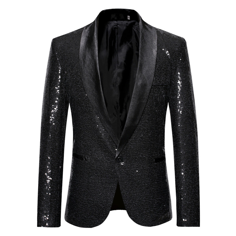 Tuxedo Blazer Magician Jackets Sequin Suit Nightclub-Bar Single-Breasted Black XXL Hosting