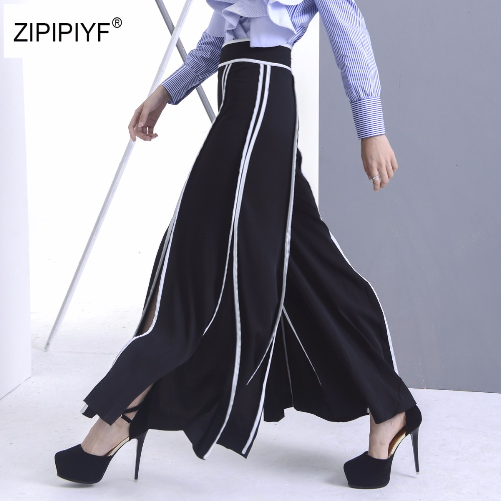 2018 Runway Women Slit Panelled Striped Wide Leg Pants Long Capri Ladies Casual Loose Si ...
