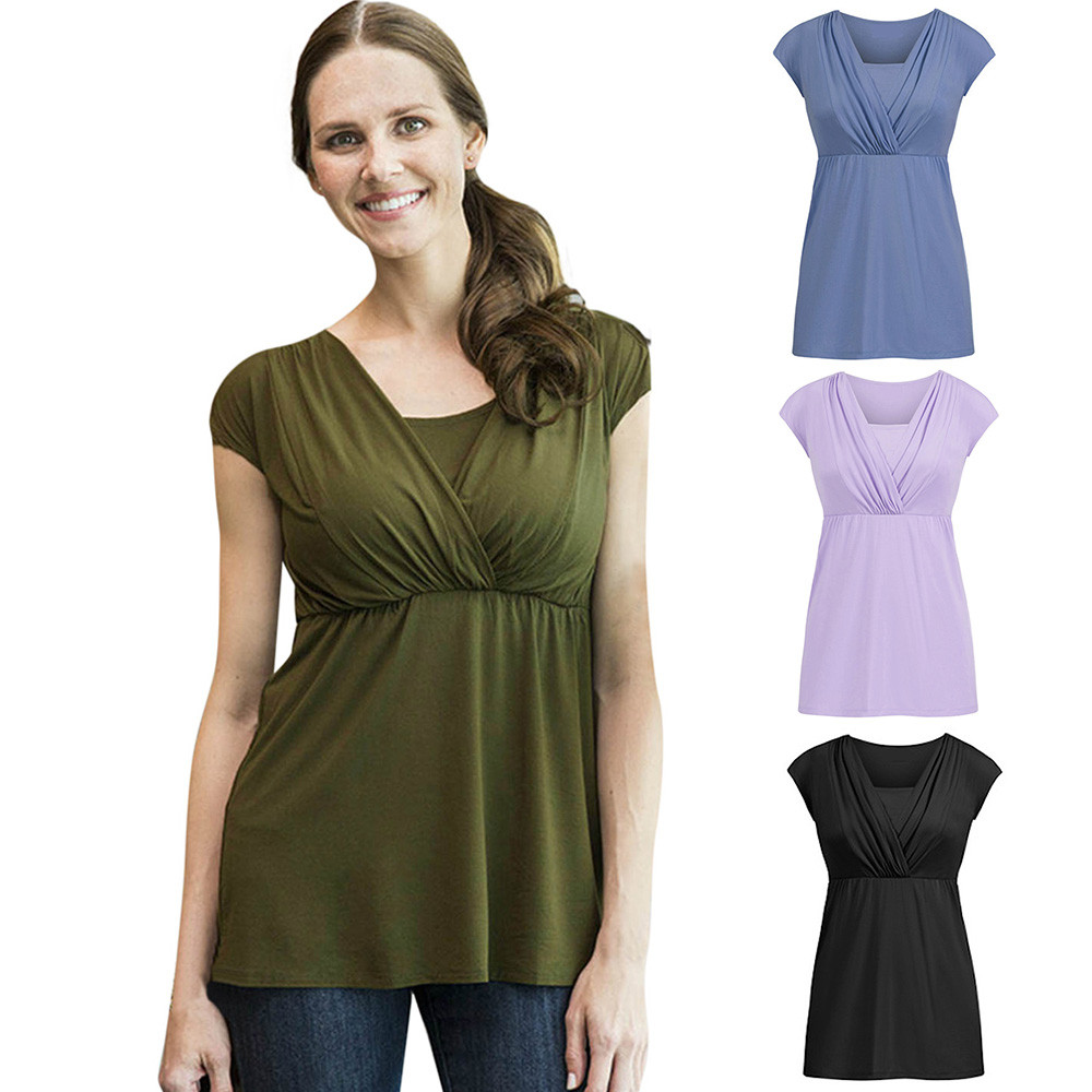 New Hot Casual Women Solid Pregnant Nursing Baby For Maternity Multifunctionl Blouse T-Shirt High Quality Drop Shipping