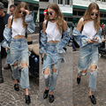 2016 New arrival Irregular  Jeans Fake two jeans Girl Denim Boot Cut Pants Bell-Bottoms Waist Denim Trousers Femal