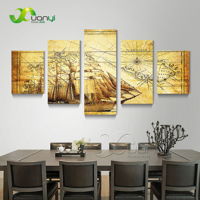 5 Panel Vintage World Map Canvas Olieverf Abstract Wanddecoraties ...