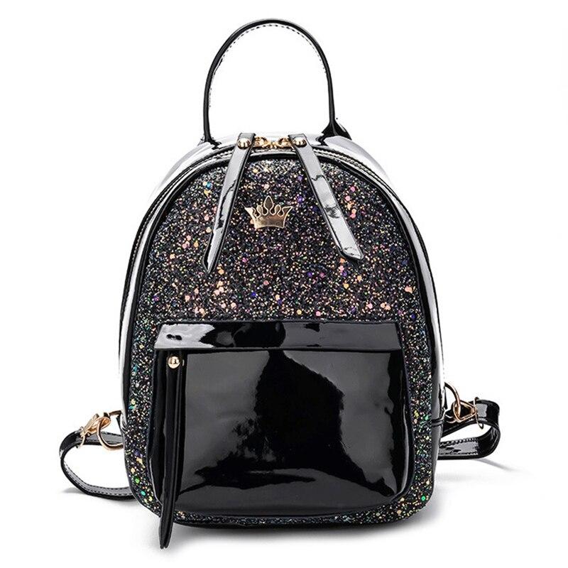 Miss Lulu Women PU Leather Bling Studs Glitter Backpacks Girls Small Mini  Princess Shoulder Rucksack School ... c8e438725f29