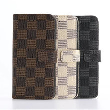 For Apple Iphone 5SE Elegant Tartan Design Wallet Card Holder Stand Leather Case for Apple Iphone 5SE Grid Phone Bags