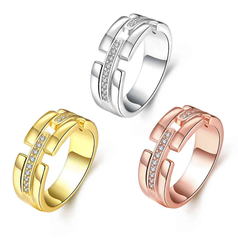 free shipping online shopping india women jewelry gold plating wedding rings crystal bridges anillos bone skgr394 - Online Wedding Rings