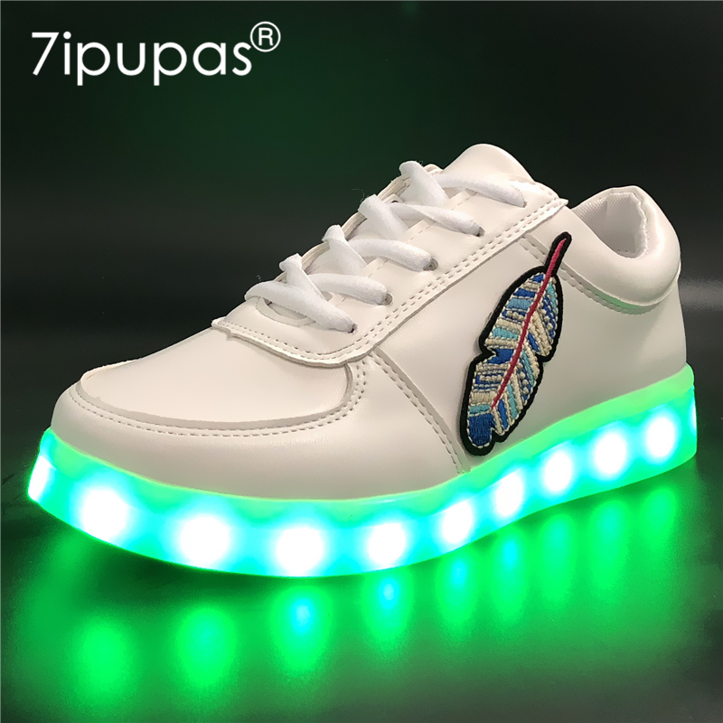 7ipupas EUR 30-44 Luminous Sneakers for Boy Girl Leaf Sneaker Children casual Glowing Shoes USB recharge Kids Led Light up Shoes