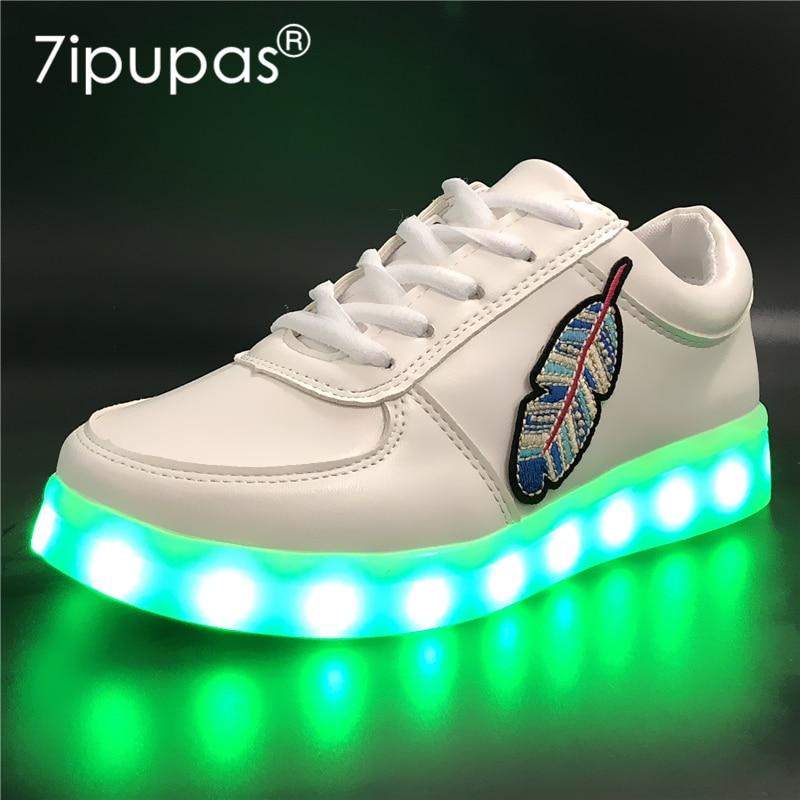 7ipupas EUR 30-44 Luminous Sneakers for Boy Girl Leaf Sneaker Children casual Glowing Sh ...