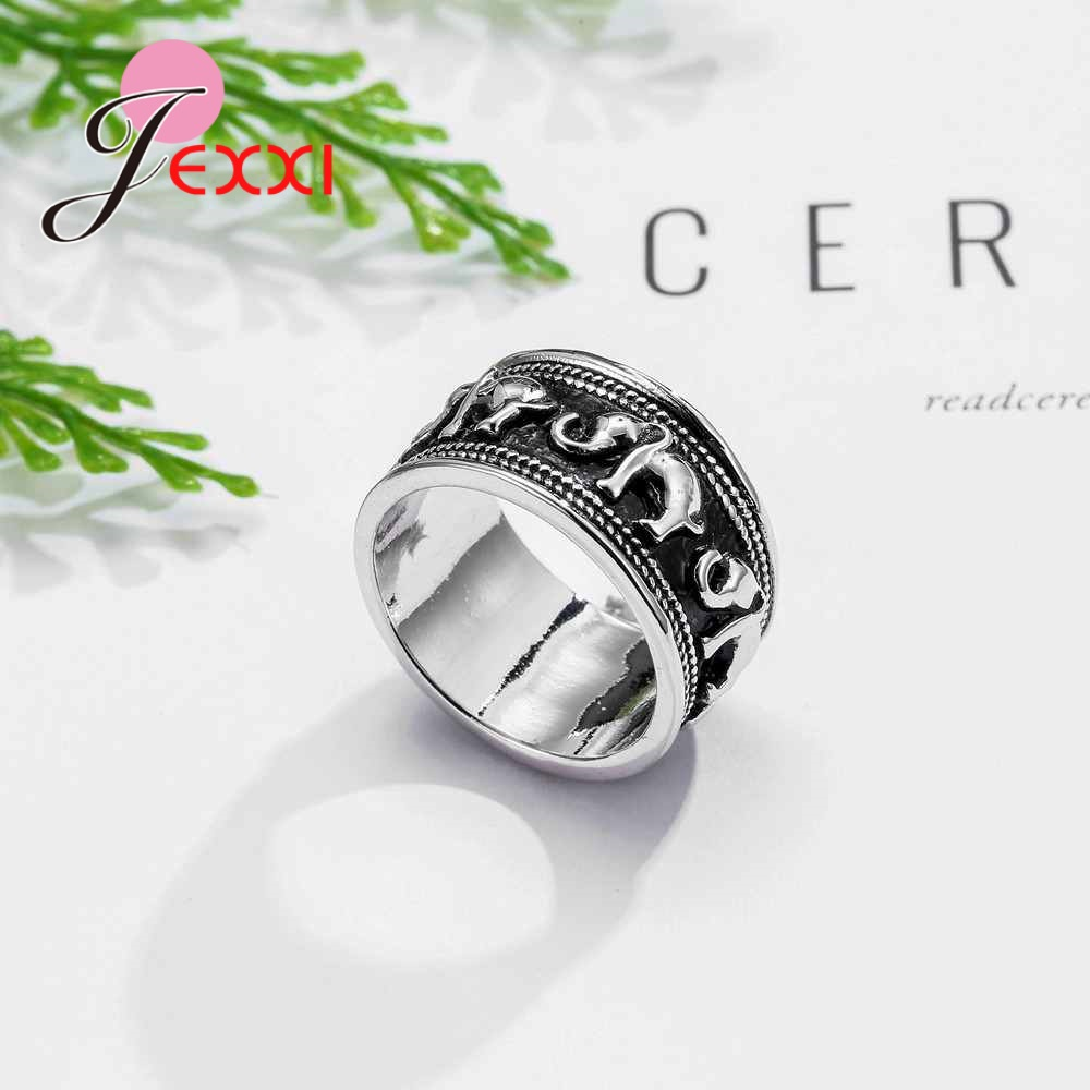 1pcs White Wooden Number 0 9 Bridal Wedding Birthday Party: JEXXI Pop Elephant Round Ring For Woman Birthday Gift