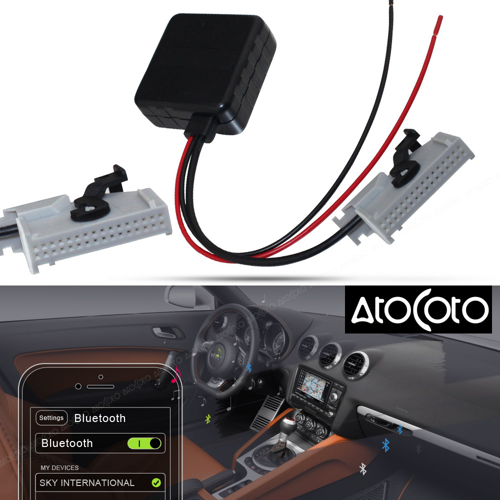AtoCoto Car Bluetooth Module for Audi RNS-E Navigation A8 TT R8 A3 A4 Radio Stereo 32 Pin AUX Cable Adapter Wireless Audio Input ゲーム ポート ピン
