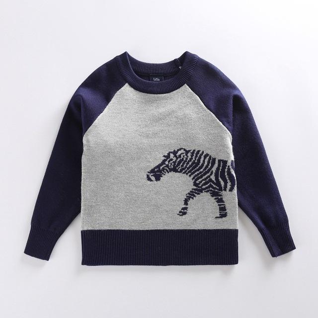 2016 Nova Inverno Boy Camisolas Crianças Meninos Camisola de Malha O Pescoço dos desenhos animados da zebra animal Camisolas Crianças Outerwear Roupas
