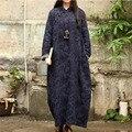 SERENAMENTE 2016 Vestido Inverno Imitado Botões de Placa de Linho Jacquard de Lã de Cordeiro Solto Vintage Longo Cheongsam Plus Size Robe S276