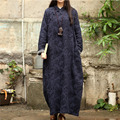 SERENELY 2016 Winter Dress Imitated Lamb Wool Plate Buttons Jacquard Linen Loose Vintage Long Cheongsam Plus Size Robe S276