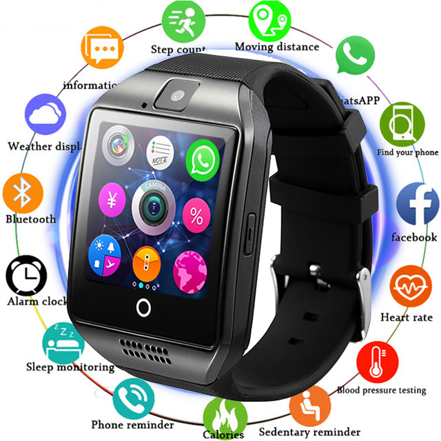Logical Sanda Bluetooth Smart Watch Q18 With Camera Facebook Whatsapp Twitter Sync Sms Smartwatch Support Sim Tf Card For Ios Android High Standard In Quality And Hygiene Men's Watches