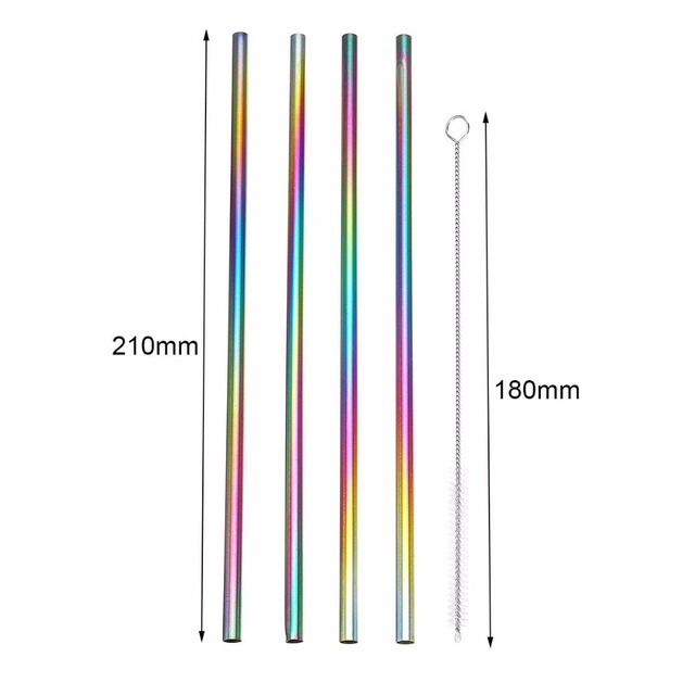 4x Rainbow Color Bubble Tea Stainless Steel Straws Reusable Drinking Straw Milk Tea Metal Straw With Brush 4