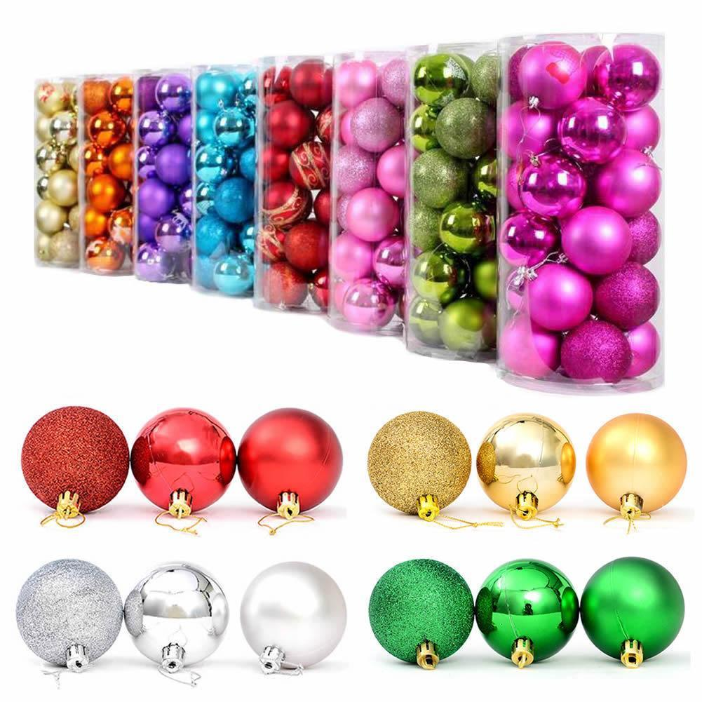 24PCS 4CM Plastic Bright Balls hot sale Christmas Tree Colourful Balls Baubles Xmas Party Decorations home Hanging Ornament