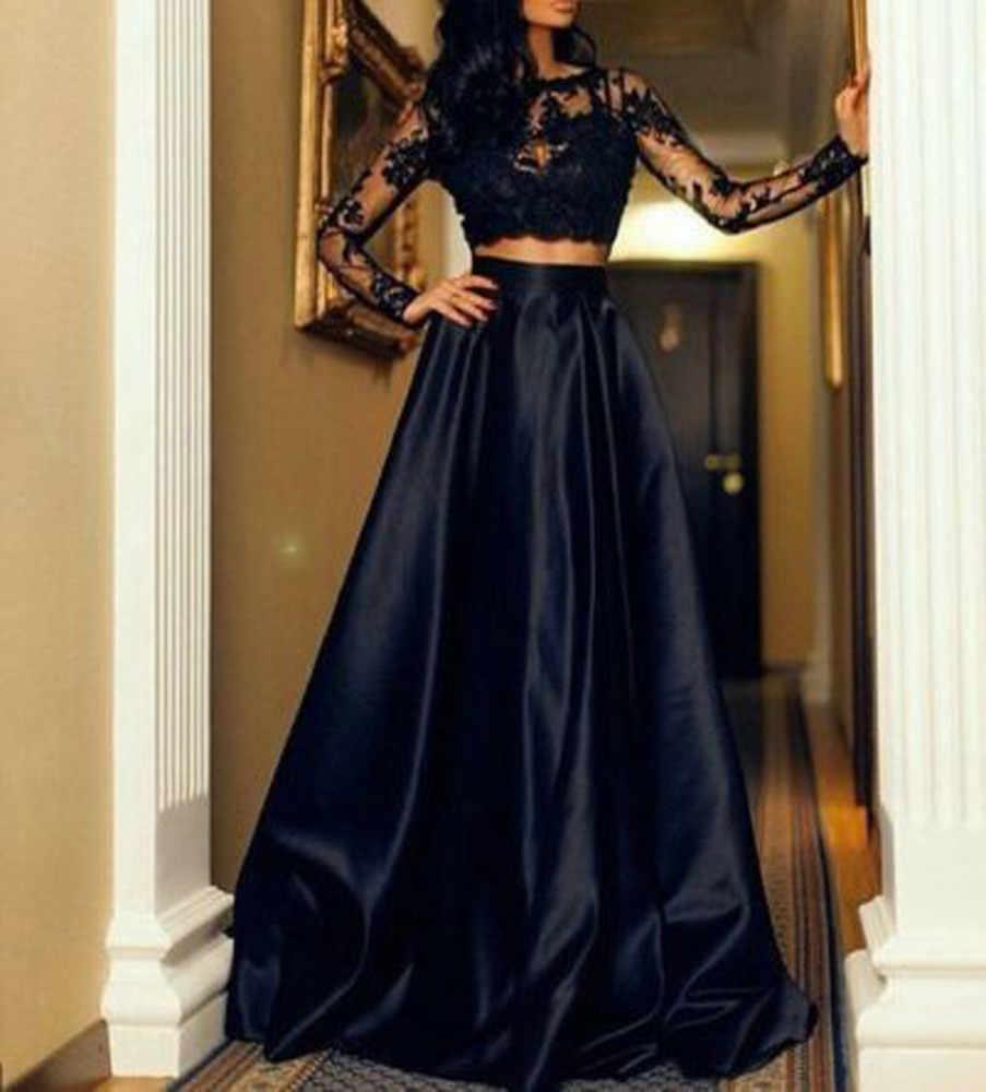 f7dbacaabb ... Faldas para mujer grande negro swing falda Falda larga falda Maxi Blusa  de encaje conjunto Formal ...