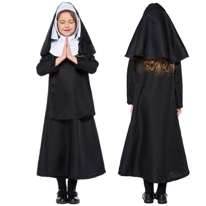 Kids Jesus Drama Priest Costumes Christ Priest Nun Cosplay Children Girl Costume Purim Halloween Carnival Party Uniform
