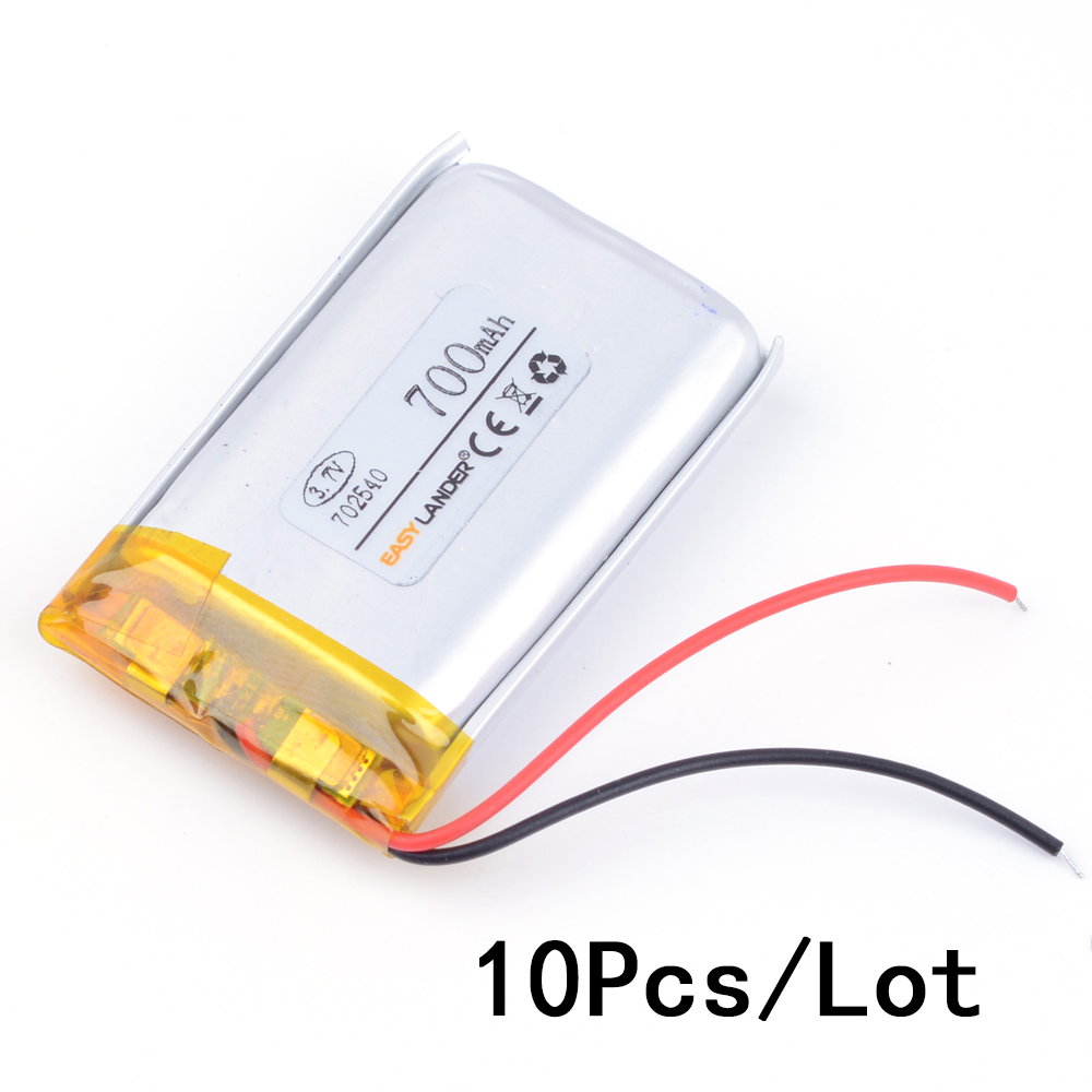 10pcs/Lot 3.7V 700mAh Rechargeable li Polymer Li-ion Battery For bluetooth headset mp3 speaker recorder wristband 072540 <font><b>702540</b></font> image