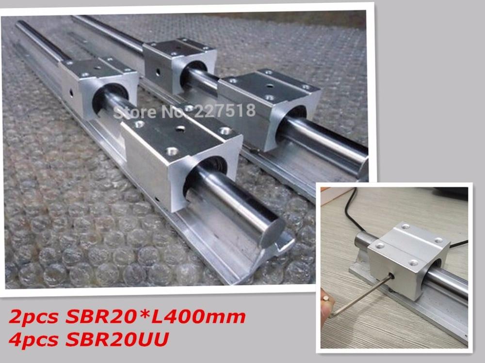 2pcs SBR20 L400mm Linear Bearing Rails + 4pcs SBR20UU Linear  Blocks best price for 2pcs sbr20 l 1150mm linear bearing rails 4pcs sbr20uu bearing blocks
