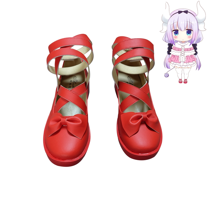 New Anime Miss Kobayashi's Dragon Maid Kanna Kamui Cosplay <font><b>Shoes</b></font> Girls <font><b>Red</b></font> <font><b>Lolita</b></font> <font><b>Shoes</b></font> Halloween Cosplay <font><b>Shoes</b></font> Size 35-43 image