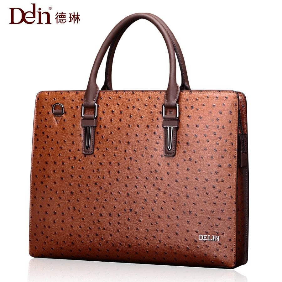 Delin ostrich pattern leather handbag handbag shoulder bag fashion men's business package briefcase cestbeau ostrich skin male bag briefcase south africa business ostrich leather handbag with lock men handbag