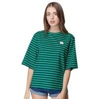 Summer Women Girls Fashion Striped T Shirt O-Neck Short Sleeve Loose Female Casual Tees Tops