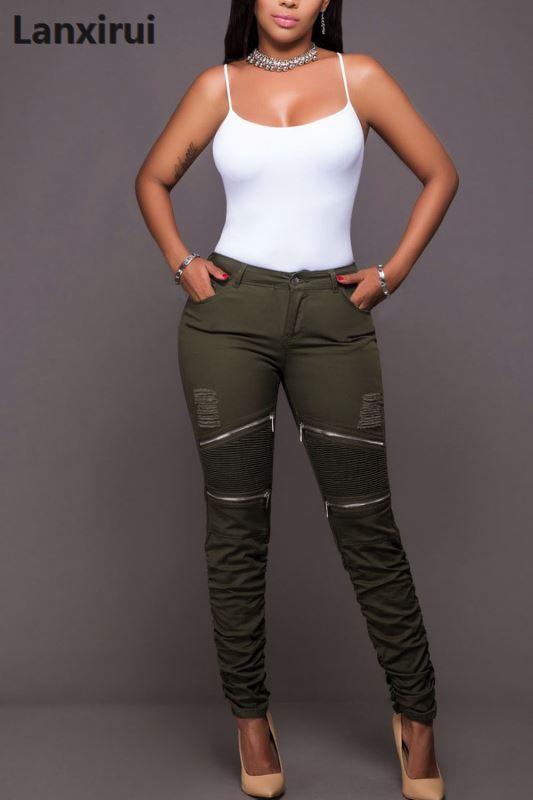 Women Zipper Fold Lantern Pants Elastic Waist Trousers 5XL