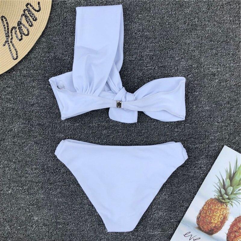 75a2b431fd8a23 Irregular knotted One Shoulder Bikini Set Women Summer Swimsuit Beach  Swimming Bathing Suit Swimwear Brazilian Biquini Bather-in Bikinis Set from  Sports ...