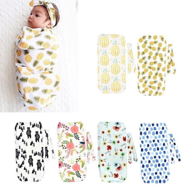 2Pcs/Set Newborn Swaddle Blanket Baby Cocoon Sleeping Bag Muslin Wrap Headband MAY29-A