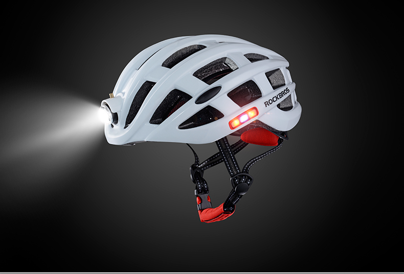 ROCKBROS Cycling Helmet with integrated front and side safety lights 23